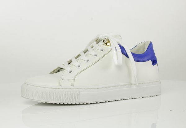 Veter sneaker wit royal blue combinatie