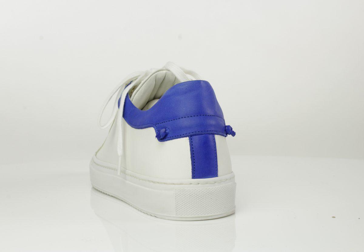 Veter sneaker wit royal blue combinatie